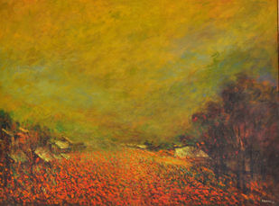 Landscape VI by Zargar Zahoor, Impressionism Painting, Acrylic on Canvas, Brown color