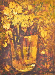 Still Life 10 by Zargar Zahoor, Impressionism Painting, Acrylic on Paper, Brown color