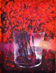 Still Life 11 by Zargar Zahoor, Impressionism Painting, Acrylic on Paper, Red color
