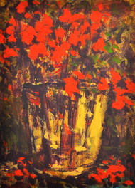 Still Life 15 by Zargar Zahoor, Impressionism Painting, Acrylic on Paper, Brown color