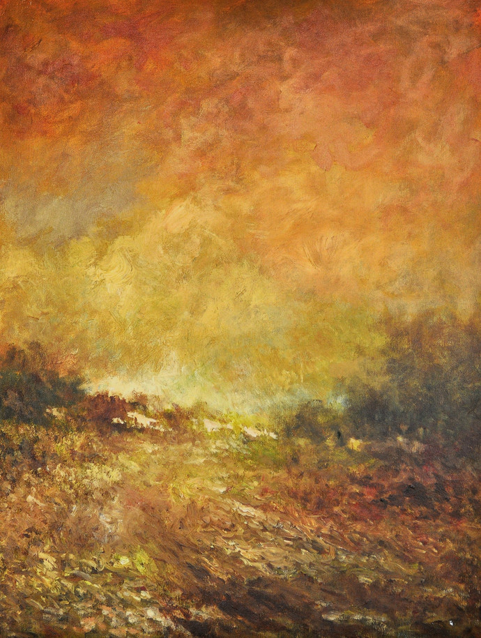 Landscape 6 by Zargar Zahoor, Impressionism Painting, Acrylic on Canvas, Brown color