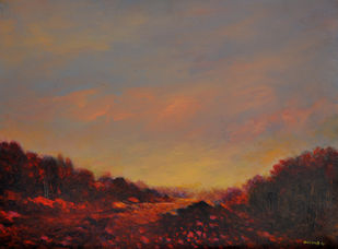 Landscape 9 by Zargar Zahoor, Impressionism Painting, Acrylic on Canvas, Brown color