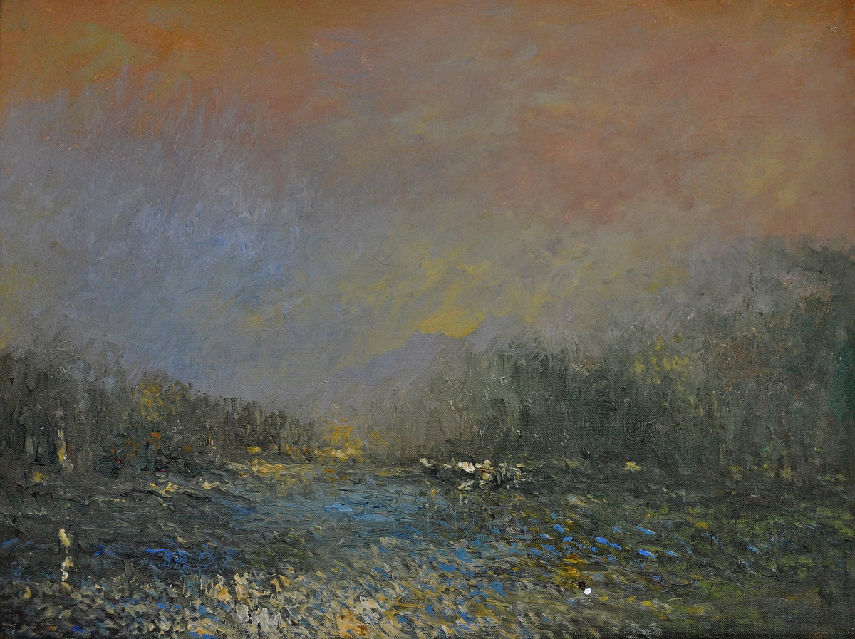 Landscape 10 by Zargar Zahoor, Impressionism Painting, Acrylic on Board, Brown color