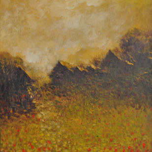 Landscape 11 by Zargar Zahoor, Impressionism Painting, Acrylic on Board, Brown color