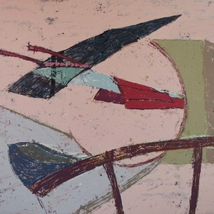 Between the Cuts by Vipin Kumar Yadav, Abstract Painting, Acrylic on Canvas, Brown color
