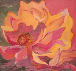 Seeds by Kavita Nayar , Impressionism Painting, Acrylic on Canvas, Pink color