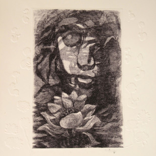 Me The Flower by Kavita Nayar , Expressionism Printmaking, Etching on Paper, Black color