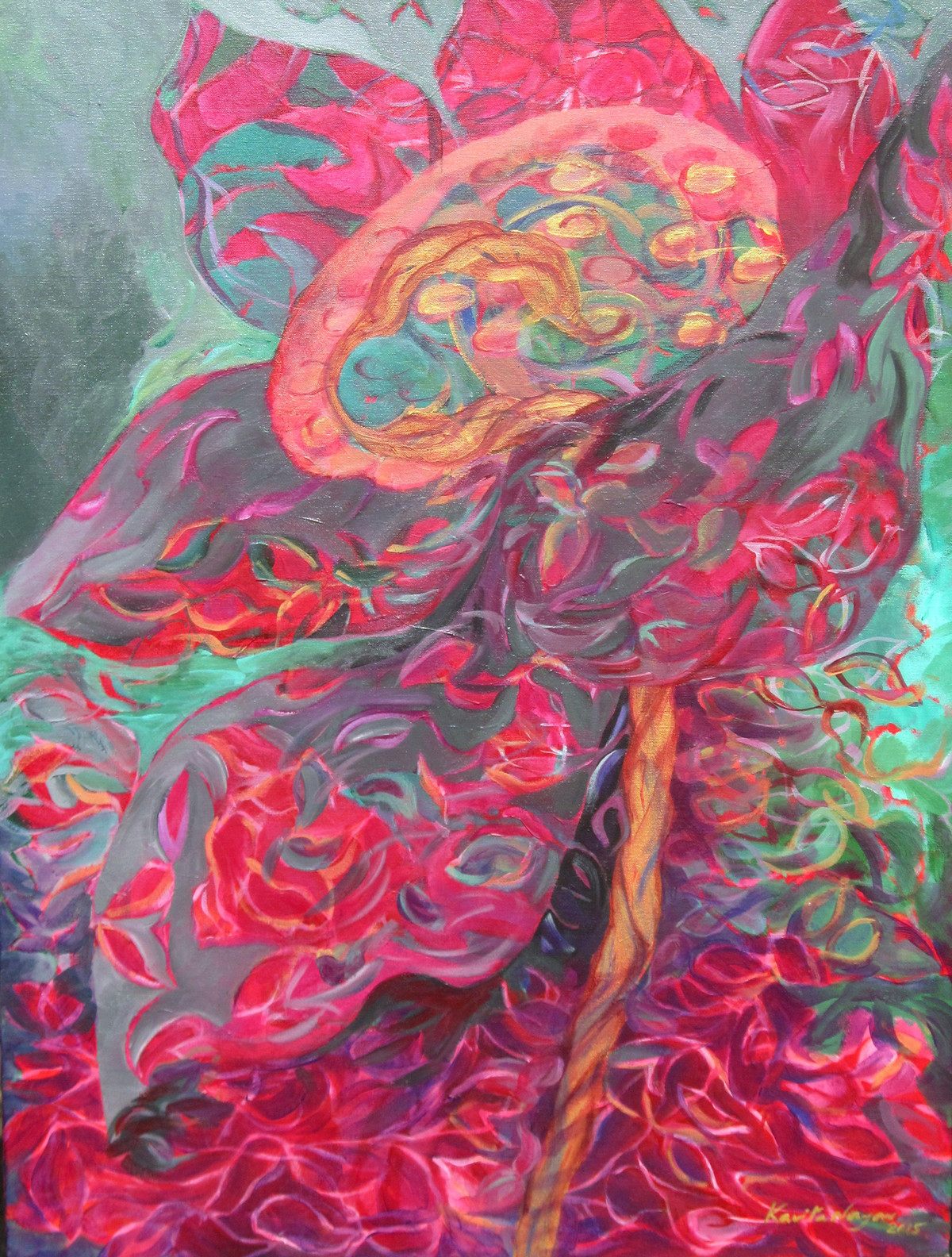SEEDS by Kavita Nayar , Expressionism Painting, Acrylic on Canvas, Pink color