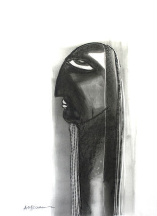 Aryan Face by Arun K Mishra, Illustration Drawing, Charcoal on Paper, White color