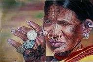 Portrait of a tribal woman by Sreenivasa Ram Makineedi, Realism Painting, Oil on Canvas, Brown color