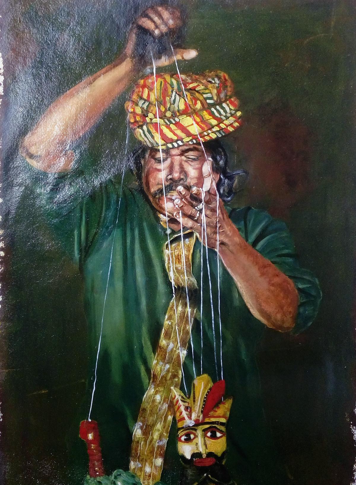 Puppet Master by Sreenivasa Ram Makineedi, Impressionism Painting, Oil on Paper, Green color