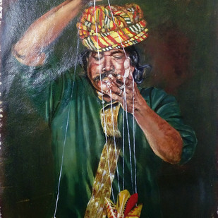 Puppet Master by Sreenivasa Ram Makineedi, Impressionism Painting, Oil on Paper, Green color