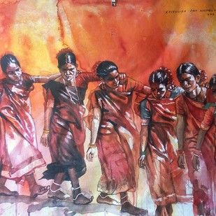 Tribal Dance by Sreenivasa Ram Makineedi, Impressionism Painting, Watercolor on Paper, Brown color