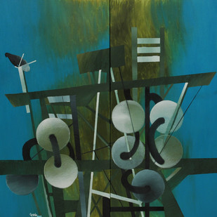 Time & Space - Cage by Ravi Gossain, Impressionism Painting, Oil on Canvas, Green color