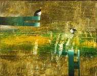 Time & Space - Cage by Ravi Gossain, Expressionism Painting, Oil on Canvas, Green color