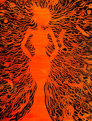 Tree of life by Priyabrata Roy Chowdhury, Conceptual Painting, Acrylic & Ink on Canvas, Brown color