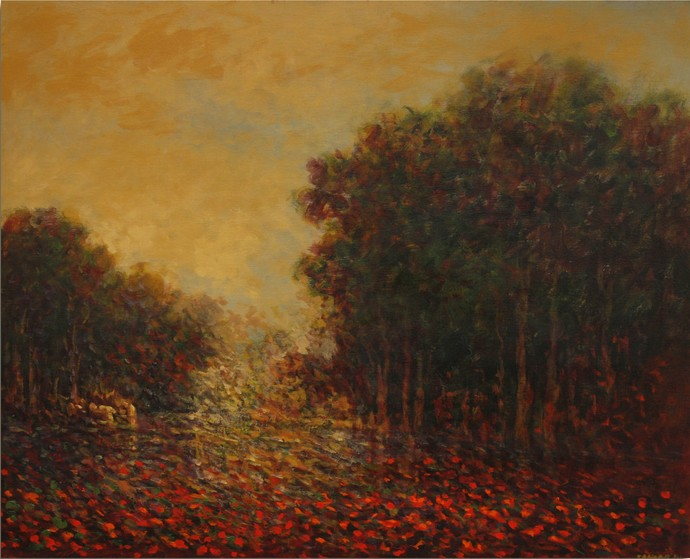 Landscape 12 by Zargar Zahoor, Impressionism Painting, Acrylic on Canvas, Brown color