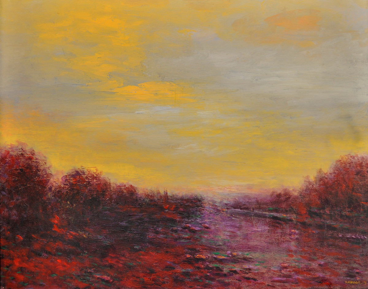 Landscape 13 by Zargar Zahoor, Impressionism Painting, Acrylic on Canvas, Beige color