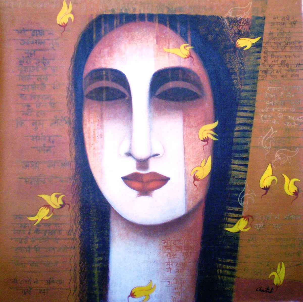 COLOR of LOVE by Chaitali Mukherjee, Decorative Painting, Acrylic on Canvas, Brown color