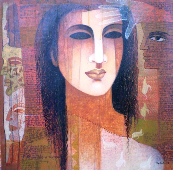 COLOR of LOVE by Chaitali Mukherjee, Impressionism Painting, Acrylic on Canvas, Brown color