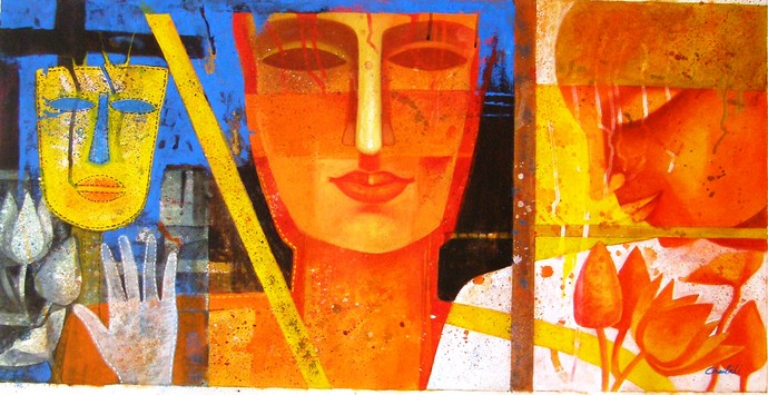 COLOR of LOVE by Chaitali Mukherjee, Decorative Painting, Acrylic on Canvas, Orange color