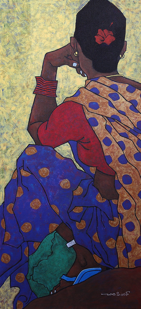 Untitled - 8 by Chary PS, Traditional Painting, Acrylic on Canvas, Blue color
