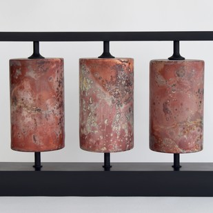 Prayer Wheels by Shweta Mansingka, Decorative Sculpture   3D, Ceramic, Gray color