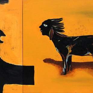 Shikasht-The Defeat-III by Vijendra S Vij, Fantasy Painting, Acrylic on Canvas, Orange color