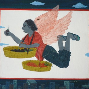 Sales Man by Soma Das, Fantasy Painting, Gouache on Paper, Blue color