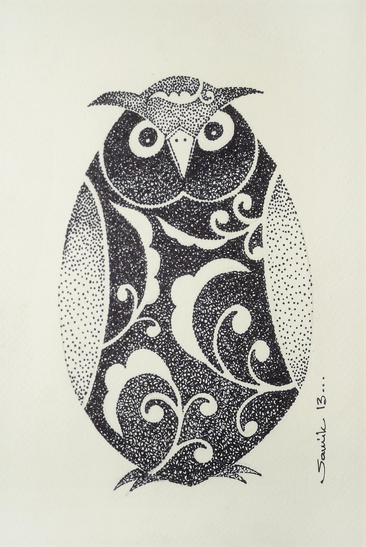 Owl I by Samik De, Impressionism Drawing, Ink on Paper, Beige color