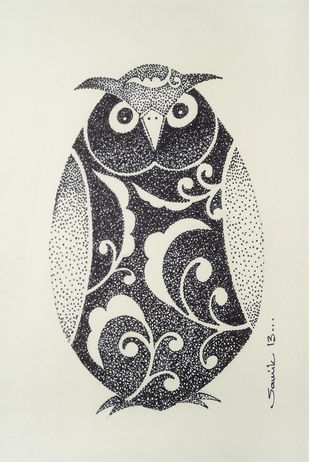 Owl I by Samik De, Impressionism Drawing, Ink on Paper, Beige color