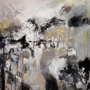 Tranquility by Neena Singh, Abstract Painting, Acrylic on Canvas, Gray color