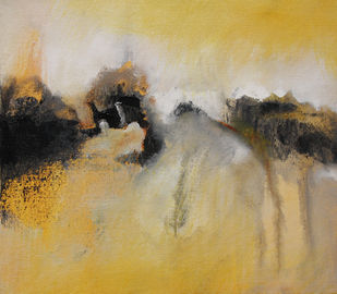Beyond Horizon by Neena Singh, Abstract Painting, Acrylic on Canvas, Beige color