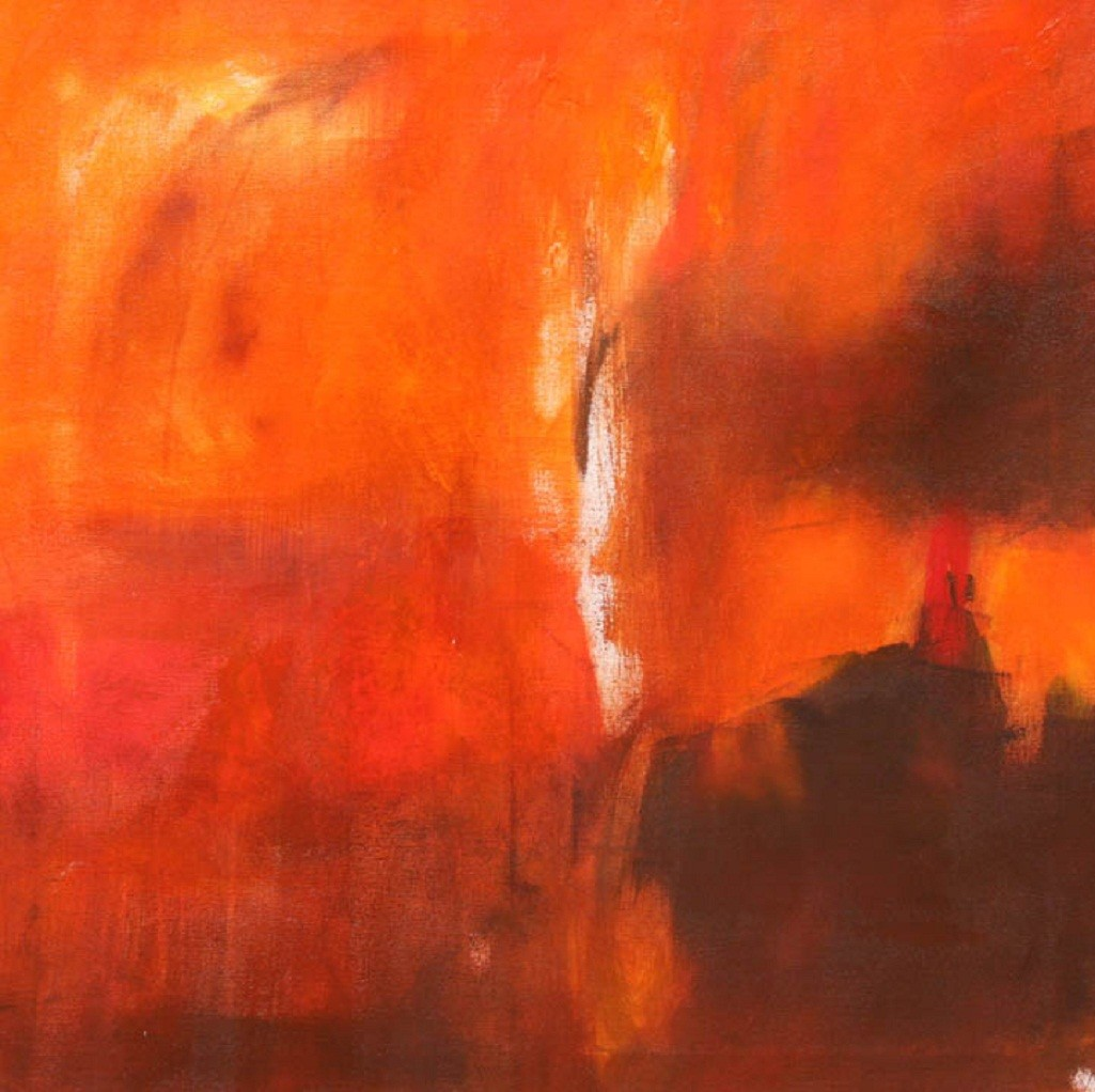 Enchanting Mysteries by Neena Singh, Abstract Painting, Acrylic on Canvas, Orange color