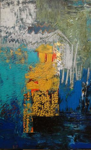 Palette Scape 2 by Nupur Kundu, Abstract Painting, Oil on Canvas, Blue color
