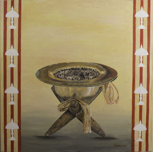 Divine Rythm by Pankhi Saikia Nath, Realism Painting, Oil on Canvas, Beige color
