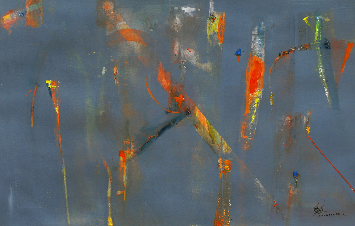 Painting 1 by Salil Sakhalkar, Abstract Painting, Acrylic on Paper, Green color