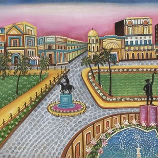 Citysquare by Nayanaa Kanodia, Traditional Painting, Oil on Canvas, Green color