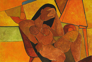 Golpitha by Salil Sakhalkar, Impressionism Painting, Acrylic on Paper, Brown color
