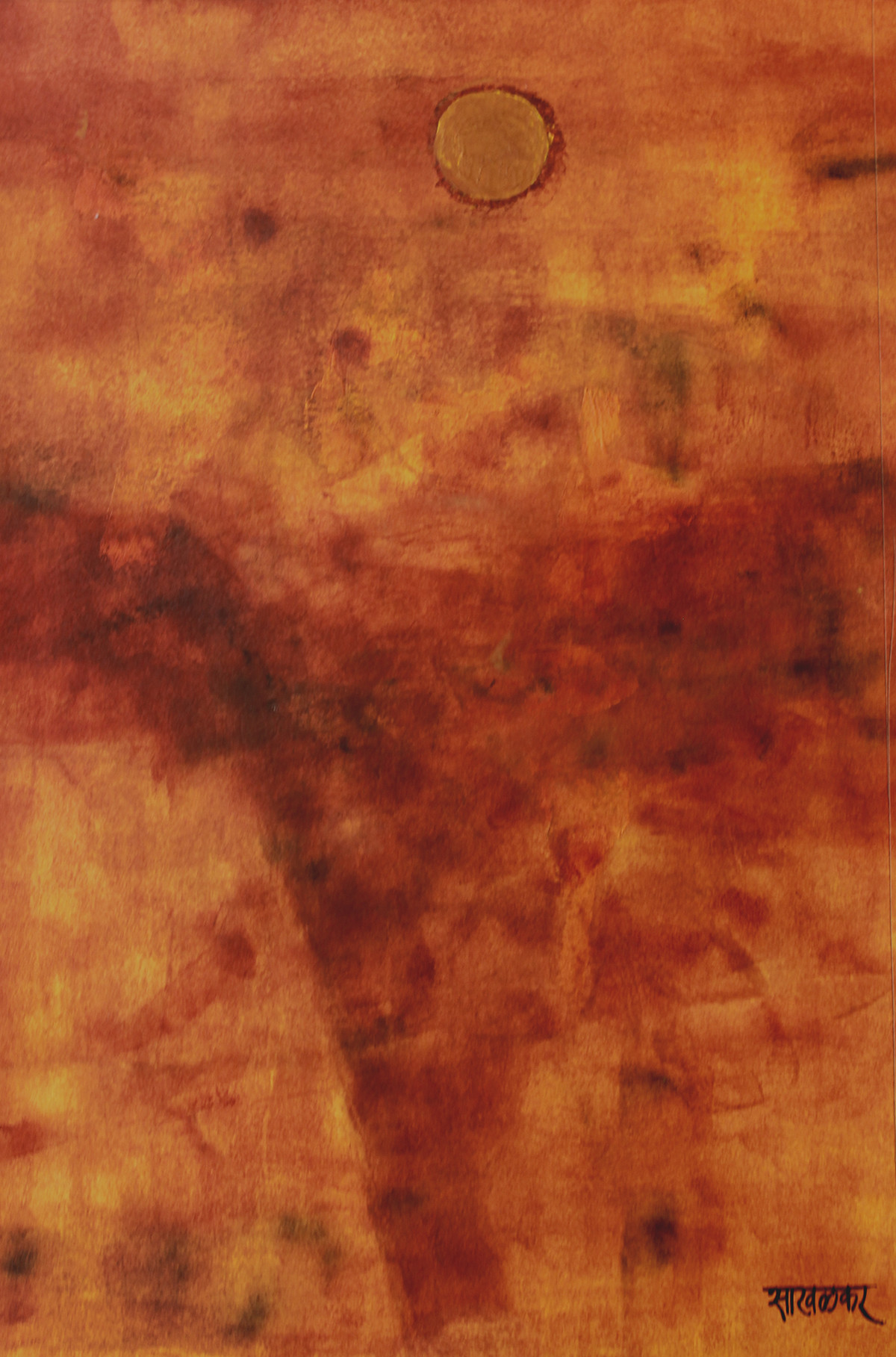 Untitled by Salil Sakhalkar, Abstract Painting, Acrylic on Paper, Brown color