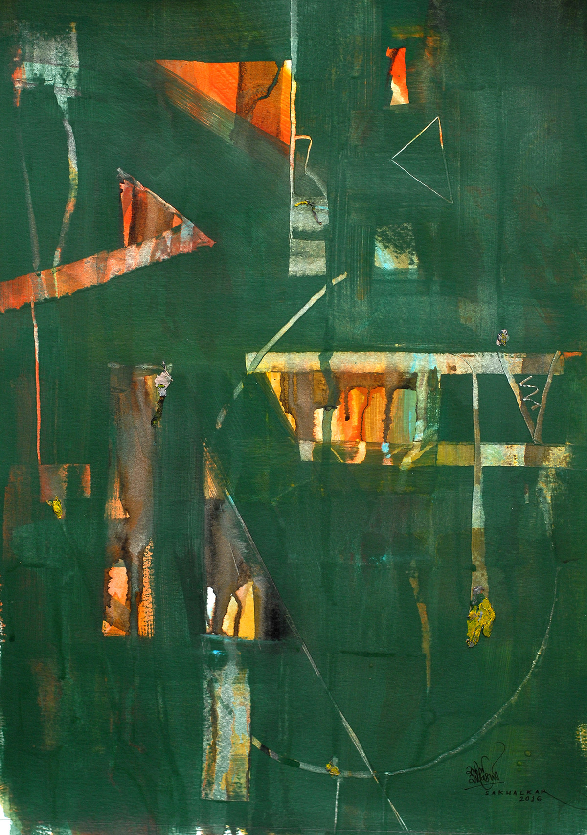 Untitled by Salil Sakhalkar, Abstract Painting, Acrylic on Paper, Green color