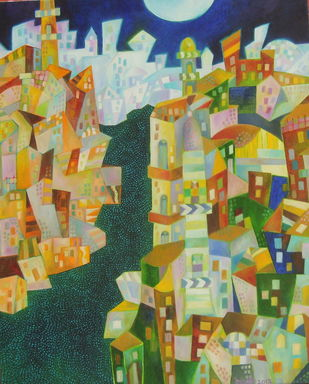 City at Night by Chaitali Chatterjee, Cubism Painting, Oil on Canvas, Beige color