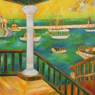 The Yellow Verandah by Chaitali Chatterjee, Traditional Painting, Oil on Canvas, Green color