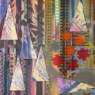 ILLUMINATI - I by Brinda Miller, Abstract, Geometrical Painting, Mixed Media on Canvas, Brown color
