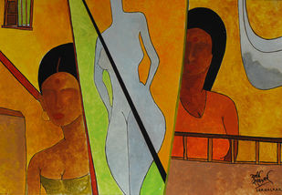 Golpitha by Salil Sakhalkar, Traditional Painting, Acrylic on Paper, Brown color