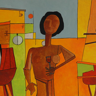 Socialites Apartment by Salil Sakhalkar, Decorative Painting, Acrylic on Paper, Brown color
