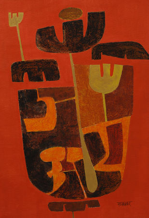 Bramhaakshar by Salil Sakhalkar, Abstract Painting, Acrylic on Paper, Brown color