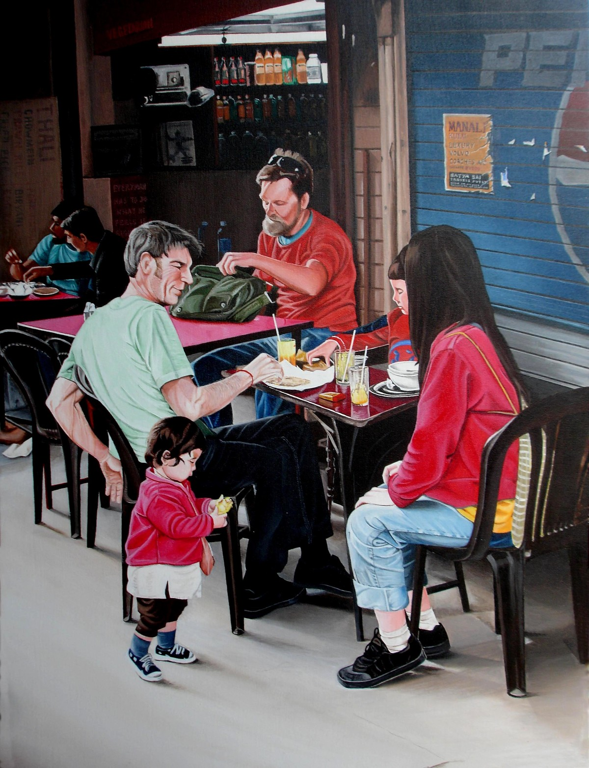 Cafe 1 by Sudhir Pillai, Photorealism, Pop Art Painting, Acrylic on Canvas, Gray color