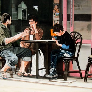 Cafe 2 by Sudhir Pillai, Photorealism, Pop Art Painting, Acrylic on Canvas, Brown color