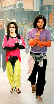 Couple by Sudhir Pillai, Photorealism, Pop Art Painting, Acrylic on Canvas, Beige color